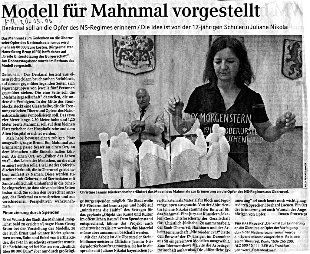 Faksimile des Berichts in der Frankfurter Rundschau vom 20.05.2006