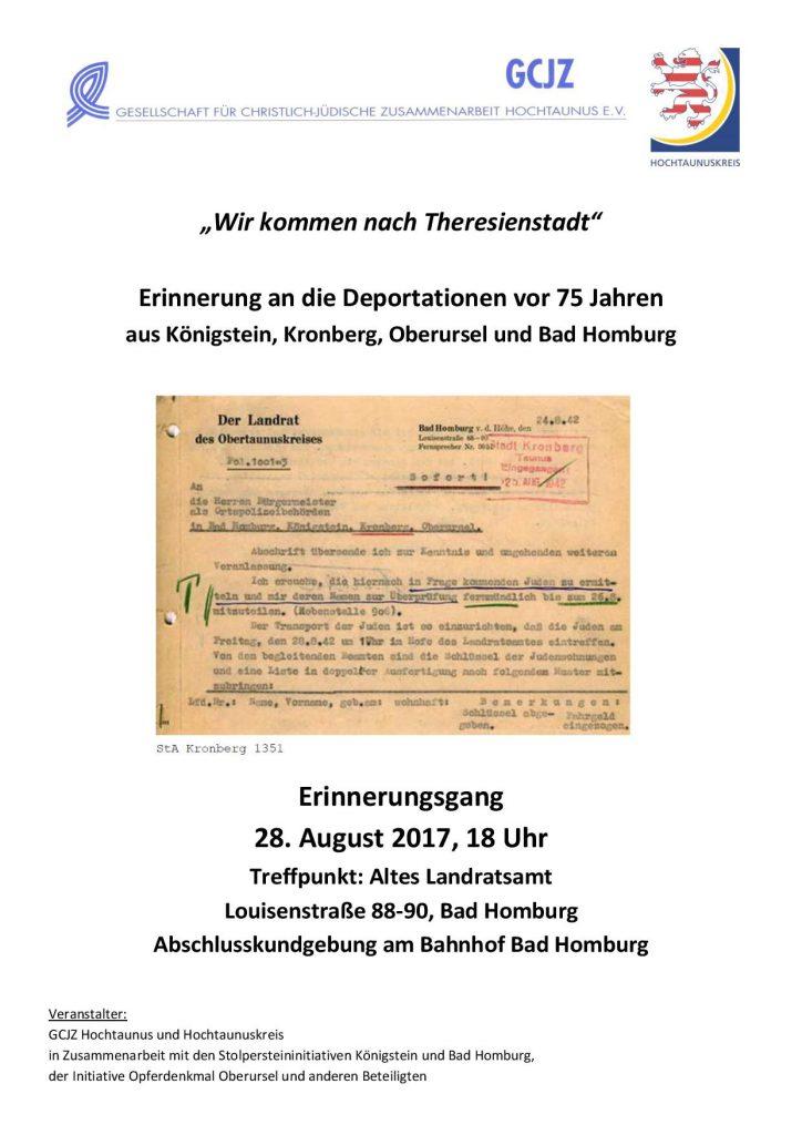 Plakat Wir kommen nach Theresienstadt