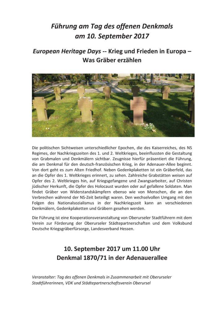 Plakat 2017-09-10 Krieg und Frieden in Europa – Was Gräber erzählen
