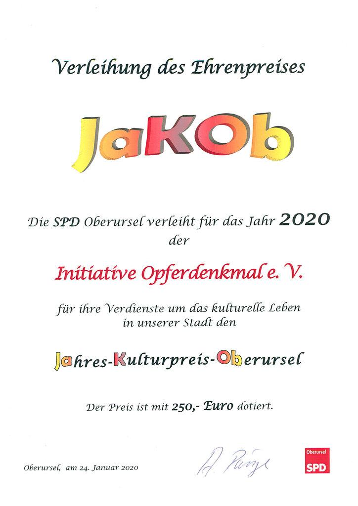 Urkunde JaKOb 2020